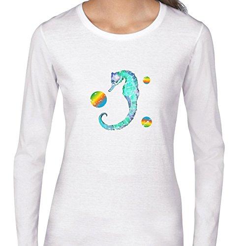 Seahorse Womens Long Sleeve (Hollywood Thread Beautiful Blue Seahorse With Rainbows Women's Long Sleeve T-Shirt)
