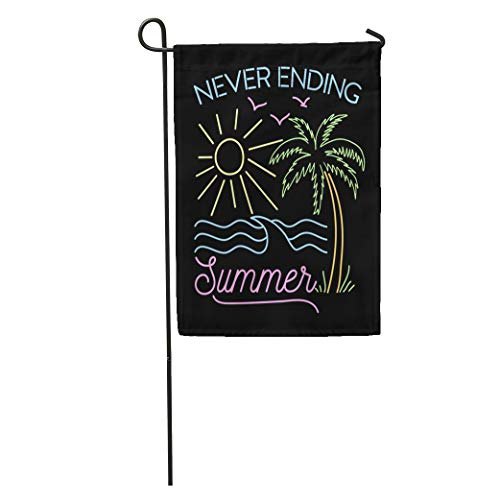Semtomn Garden Flag Summer Never Ending Slogan Graphic Neon and Tee Beach Palm Home Yard Decor Barnner Outdoor Stand 28x40 Inches Flag