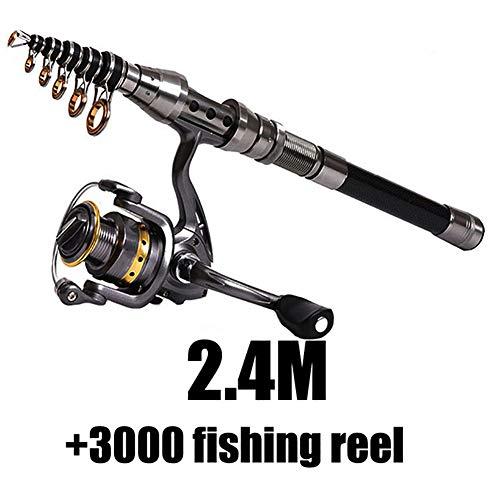 QianBaiHui 1.5M-2.4M Telescopic Fishing Rod Combination Fishing Reel Full Set Wheel Carbon Fiber Portable Telescopic Super Hard Ultra Light Fishing Rod,Reelcombination,2.4M/7.87Ft