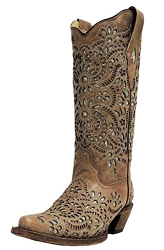 CORRAL Women's Brown with Glitter Inlay and Embroidery Snip Toe Cowgirl Boots A3352 (8.5 B(M) US)
