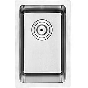 10' Bar Sink Phoenix PLZ-03 Undermount 18 Gauge Stainless Steel Square Kitchen Sink with Tight Radius Corners