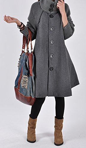 Manteau Patchwork Maternit Manteau Sweat Coton Single Swing Robe Cape Elonglin Oversize Vintage Poncho Grand Femme Veste breasted A Manteau line Robe Ourlet Hiver BZn1YqSf