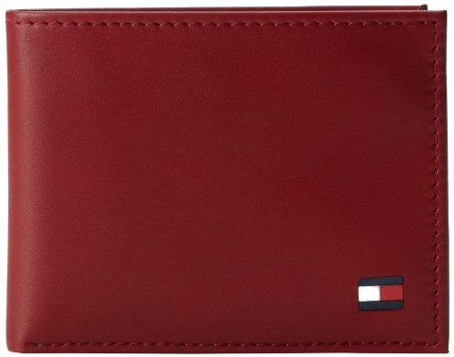 Tommy Hilfiger Men's Leather Wallet - Thin Sleek Casual Bifold with 6 Credit Card Pockets and Removable ID Window, Deep Red 3 Part Show Card Wallet
