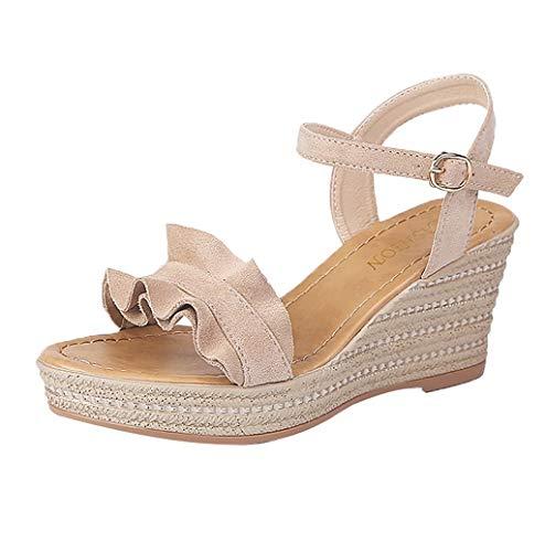 Photno ❤ Women's Fashion Wild Rhinestone Pearl Charm Handmade Sandals Platform Wedge Dress-Banquet, Party, Wedding Khaki