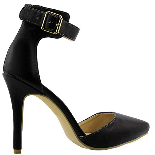 Pu Strap Women's Dress Toe Sandal Party Casual Buckle Black Shoes Heel High Evening DailyShoes Ankle Pointed wCWn0aZ0g