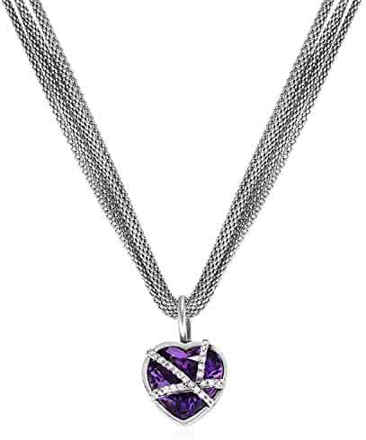 Amethyst Diamond Pendant 925 Sterling Silver 18mm x 10mm 0.01cttw