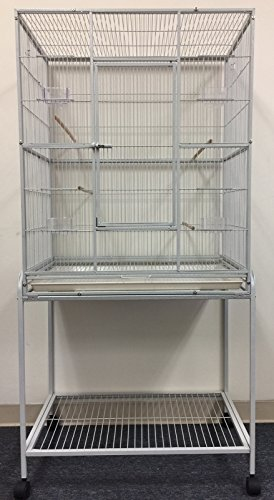 "Mcage Large Wrought Iron Flight Breeding Canary Parakeet Cockatiel Lovebird Finch Bird Flight Cage with Removable Stand, 32-Inch by 19-Inch by 64-Inch (32"" L x 19"" W x 64"" H, White Vein)"