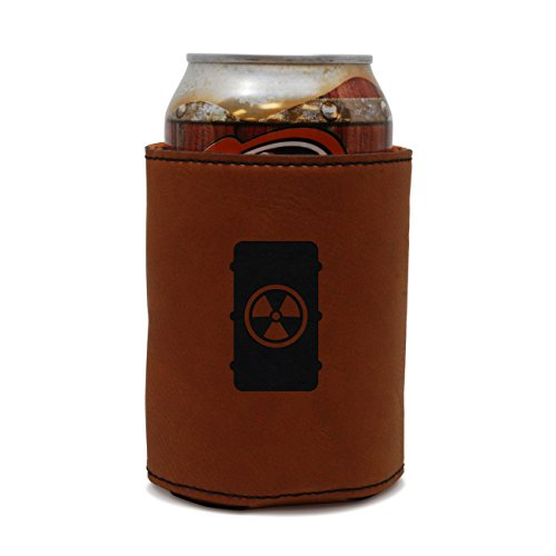 MODERN GOODS SHOP Leather Beer Coozie With Radioactive Tank Engraving - Oil, Stain And Water Resistant Beer Hugger - Standard Size Beer And Soda Can Sleeve
