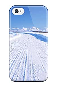 New Design Shatterproof FzNZALl185ZLjBF Case For Iphone 4/4s (artistic Winter Snowy Road )
