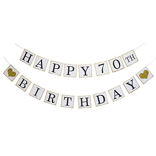 Happy 70TH Birthday Banner - Gold Glitter Heart