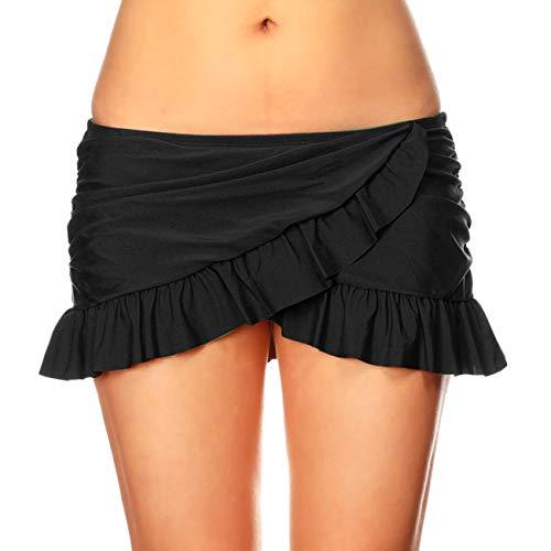 DAYU Women's Overlapping Ruffled Mini Swim Skirt with Panty Black XL ()