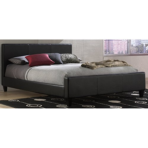 Euro Platform Bed with Side Rails and Soft Upholstered Exterior, Black Finish, Queen (Bedroom Euro Headboard)