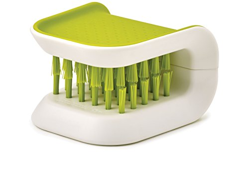 (Joseph Joseph 85105 BladeBrush Knife and Cutlery Cleaner Brush Bristle Scrub Kitchen Washing Non-Slip, One Size, Green)