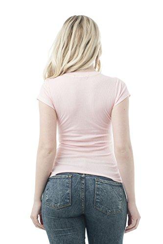 Camiseta de manga corta con cuello redondo, acanalada rosa pastel
