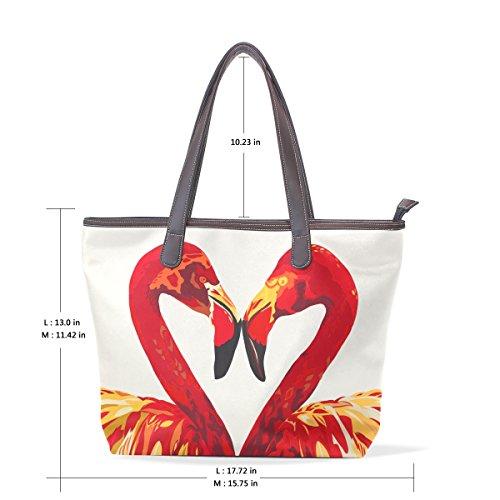 COOSUN Flamingos Love PU Leder Schultertasche Handtasche für Frauen Mädchen