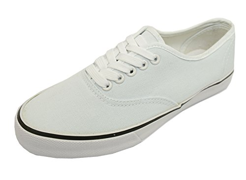 Ladies White Lace-Up Canvas Flat Trainer Plimsoll Pumps Casual Shoes Sizes 3-8 CBhykRJe