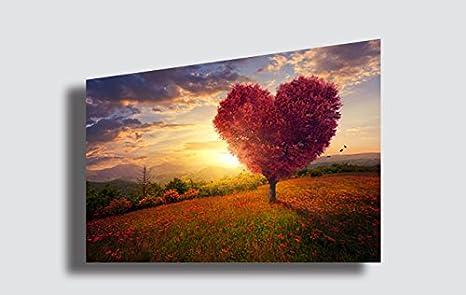 Quadro moderno fiori amore cuore love tramonto alba fiore arte