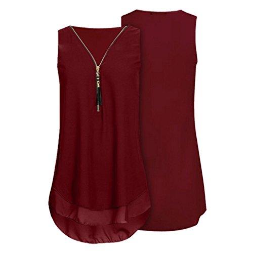 (Peize 2018 Women Plus Size Tank Tops, Fashion Chiffon Tank Top V-Neck Zipper Hem Loose T Shirts Tops for Womens (L, WE))