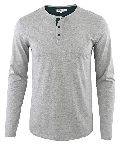 HARBETH Men's Regular Fit Long Sleeve Athletic Henley Shirt Active Jerseys Tee H.Gray/Dk.Green S