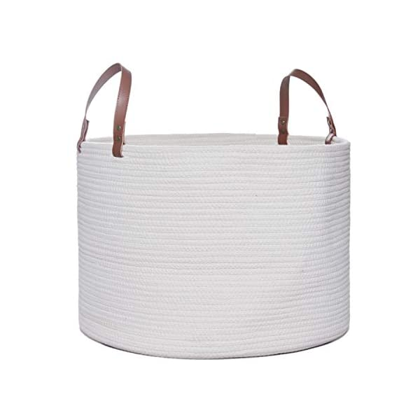 Large Cotton Rope Basket, 20″ x 14″ Laundry Blanket Storage Basket with Leather Handles, Baby Nursery Bin for Home Decor and Organizing