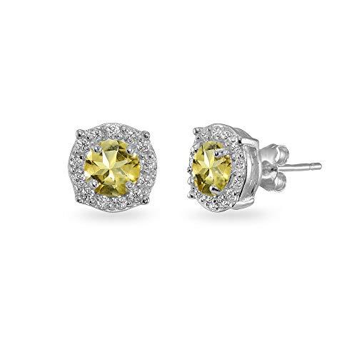 - Sterling Silver Citrine & White Topaz 5mm Round Halo Stud Earrings for Women Girls