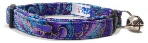 Breakaway Cat Collar in Purple Blue Paisley (U.S.A. -