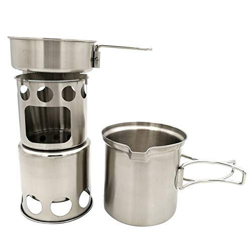 TT-OUTDO Outdoor Camping Cookware Set Wood Stove Cooking Pot Set Stainless Steel Tableware Folding Cookware for Backpacking Fishing