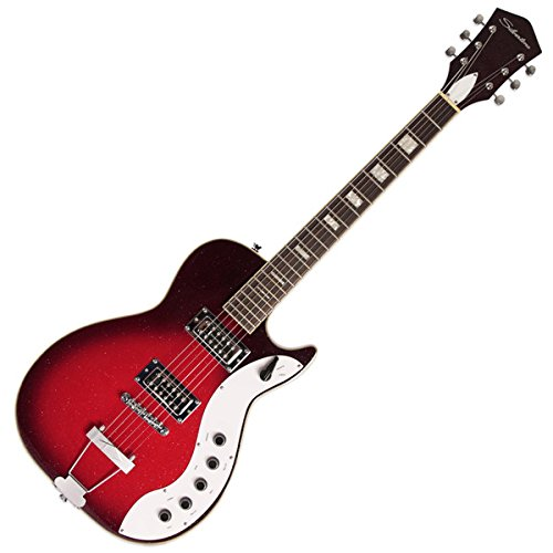 Silvertone Classic 1423-RSFB Solid-Body Electric Guitar, Red/Silver Flake Burst