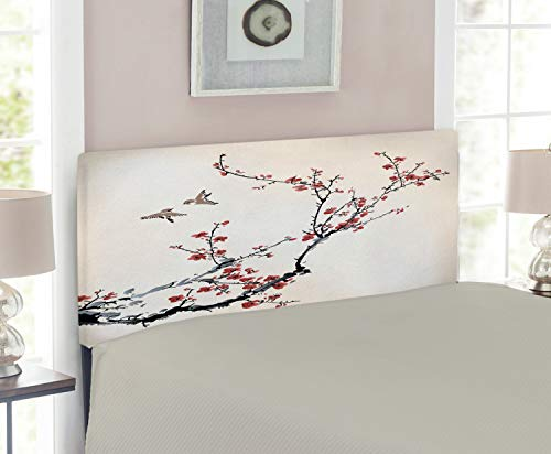 Twin Cherry Size Headboard (Ambesonne Nature Headboard for Twin Size Bed, Cherry Branches Flowers Buds and Birds Asian Style Artwork with Painting Effect, Upholstered Metal Headboard for Bedroom Decor, Black Burgundy)
