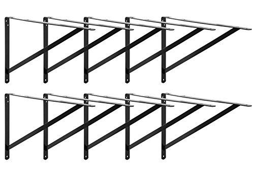 Decko 49152 Heavy Duty Shelf Bracket, 19.25-Inch by 12.50-Inch, Black, 10-Pack by Decko (Image #2)