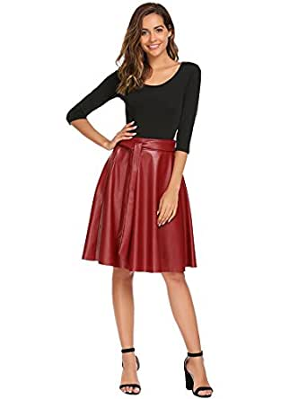 ANGVNS Women's PU Faux Leather Midi Skirt Pleated High Waist Swing Skate Skirt With Belt