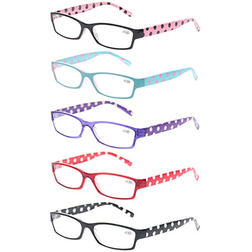 Price comparison product image Reading Glasses Set of 5 Fashion Readers Plastic Lightweight Women Glasses for Reading (5 Pack Mix Color,  0.50)