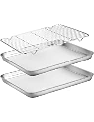 Baking Sheets 2 Pieces with A Rack, HKJ Chef Cookie Sheets and Nonstick Cooling Rack & Stainless Steel Baking Pans & Toaster Oven Tray Pan, Rectangle Size 12 x 10 x 1 inch & Non Toxic