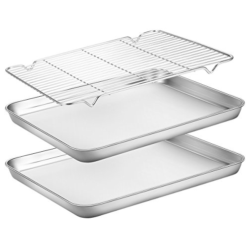 Baking Sheets 2 Pieces with A Rack, HKJ Chef Cookie Sheets and Nonstick Cooling Rack & Stainless Steel Baking Pans & Toaster Oven Tray Pan, Rectangle Size 12 x 10 x 1 inch & Non Toxic ()