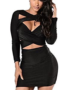 VOGRACE Women's Long Sleeve Cut Out Bandage Bodycon Party Clubwear Mini Dress