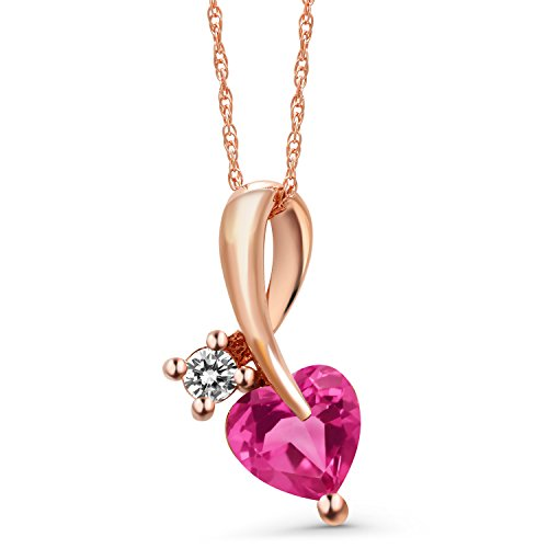 Gem Stone King 0.90 Ct Heart Shape Pink Created Sapphire White Diamond 10K Rose Gold Pendant
