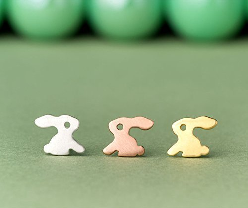Solid Gold Bunny Earrings 14k dainty 18k rose gold 0.0011 ()