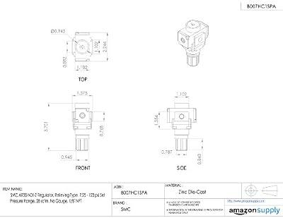 "SMC AR20-N01-Z Regulator, Relieving Type, 7.25 - 123 psi Set Pressure Range, 28 scfm, No Gauge, 1/8"" NPT"
