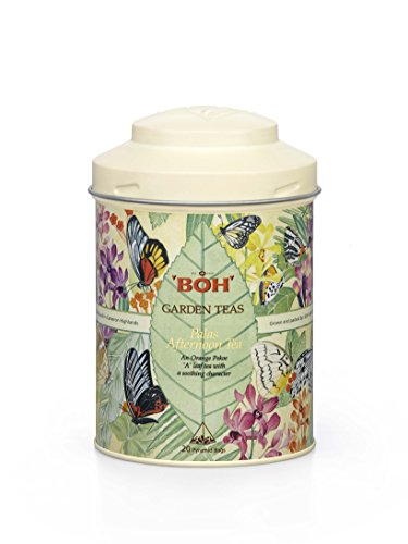 Fathers Day Gift BOH Garden Tea Palas Afternoon Tea Tin Canister, Premium Black Tea Loose Leaf with Soothing Character, 20 Pyramid Sachets (2.47 - Tea Canister Garden