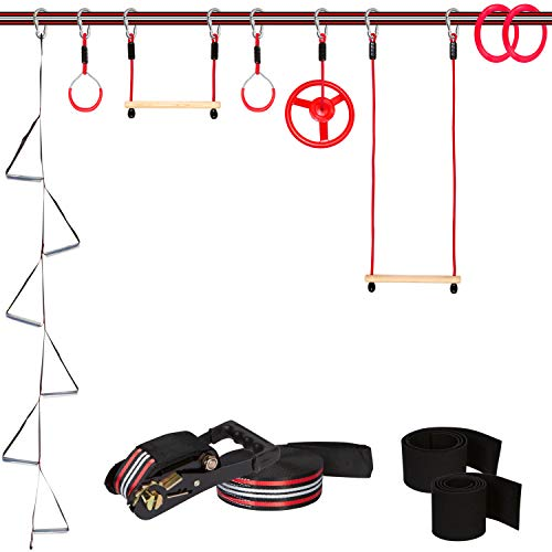 Backyard Monkey Bars - Ninja Warrior Training Equipment for Kids - 65 ft Slackline Obstacle Course with 8 Obstacles: Monkey Bars, Fitness Gymnastic Rings, Climbing Rope Ladder, Spinning Wheel | Backyard Playground Swingset