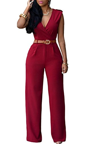 Mintsnow Women's Sexy V Neck Sleeveless Wide Leg Palazzo Pants Jumpsuit (Wine,M) (Sexy Pants Suits)
