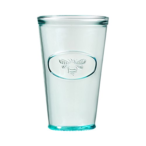 Bee Highball - Amici Home, A7AJ714S6R, Bee Relief Hiball Drinking Glass, Recycled Glassware, Made in Italy, Dishwasher Safe, Set of 6, 16 Ounces