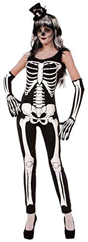 Forum Novelties Women's Skeleton Jumpsuit, Multi, Medium/Large (Womens Skeleton Costume)