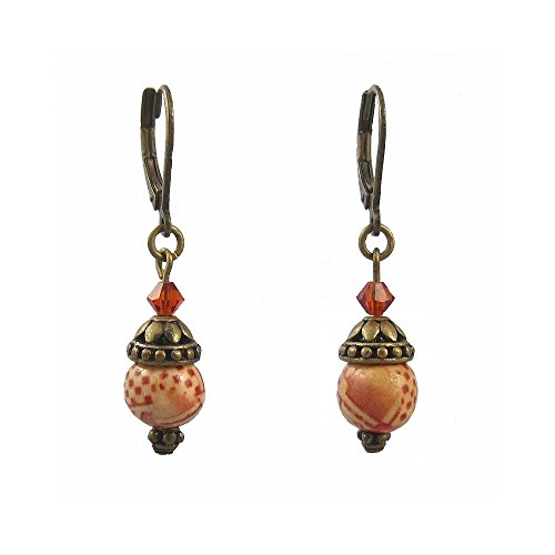 Hand Painted Wood Beads (Hand Painted Wood Crystal Bead Earrings)
