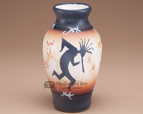 Mission Del Rey Native American Pottery -Authentic Navajo Indian Vases, Bowls, Figurines, Wedding Vases & Jewelry Boxes -Hand Painted, for Rustic Southwest Decor. (Kokopelli, 7