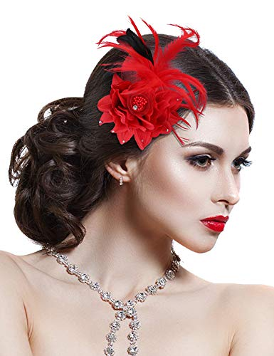Hotvivid Fascinators for Women Tea Party Wedding Headband Feather Brooch Flower Mesh Hair Clip (Red)