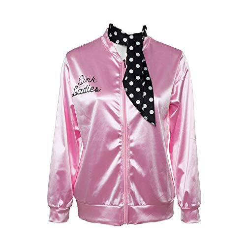 Fancycloth 50S Grease T-Bird Danny Pink Ladies Satin Jacket Costume with Polka Dot Scarf Large