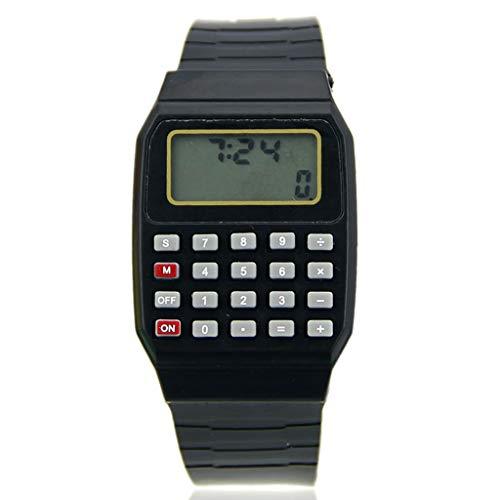 Sarora - Children Calculator Watch - Silicone Date Multi-Purpose Kids Electronic Calculator Wrist Watch (Black) (Calculator Wrist Watch)