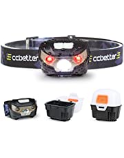 Head Torch, ccbetter LED USB Headlamp Running Head Torches Rechargeable Headlamps, Camping Head-torch for Reading Fishing Runners Sport Hiking DIY and Walking (USB Cable + Light Box)