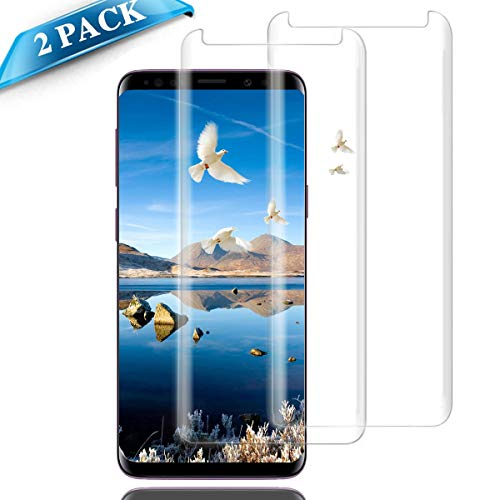 Galaxy S9 Plus Screen Protector Glass,(2-Pack-Clear) 3D Curved Dot Matrix Screen Samsung Galaxy S9 Plus Tempered Glass Screen Protector (6.2'') 2018 with Easy Application (NOT S9)(Case Friendly) by my-handy-design
